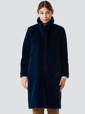 Rut & Circle Long Faux Fur Coat blå