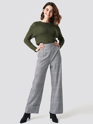 Trendyol ljusgrå rutiga byxor Checkered Wide Pants grå multicolor