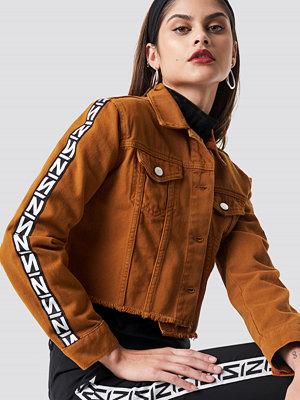 NA-KD Trend N Branded Denim Jacket orange