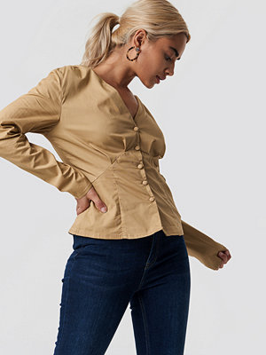 NA-KD Trend Long Sleeve Buttoned Blouse beige
