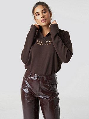 NA-KD Front Zipper Sweatshirt brun