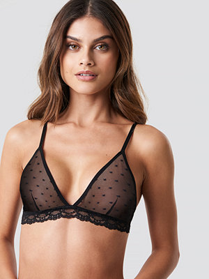 NA-KD Lingerie Lace Edge Dotted Triangle Bra - BH:ar