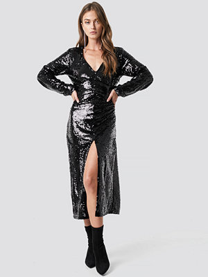 NA-KD Party V-Neck Sequins Midi Dress svart