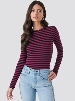 NA-KD Striped Long Sleeve Top lila