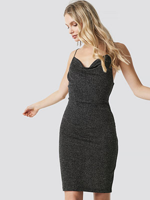 NA-KD Party Glittery Spaghetti Strap Dress silver