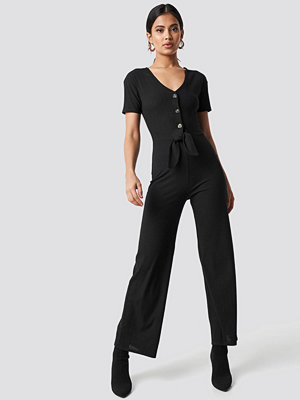 Jumpsuits & playsuits - NA-KD Trend Tied Front Jumpsuit svart