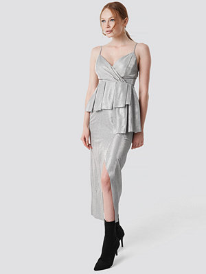 Trendyol Shiny Slit Maxi Dress silver