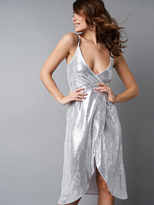 NA-KD Party Wrap Over Sequins Dress silver
