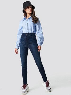 NA-KD High Waist Skinny 5 Pocket Jeans blå
