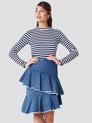 NA-KD Flounce Denim Skirt blå