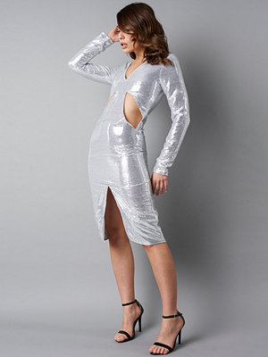 NA-KD Party Deep V-Neck Cut Out Midi Dress silver
