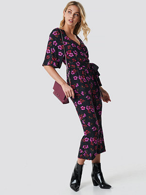 NA-KD Flower Print Wrap Jumpsuit multicolor