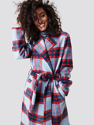 NA-KD Checked Belted Coat - Kappor