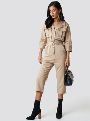 Jumpsuits & playsuits - NA-KD Trend Front Pockets Belted Jumpsuit beige