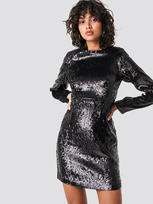 NA-KD Party Marked Shoulder Sequins Mini Dress svart
