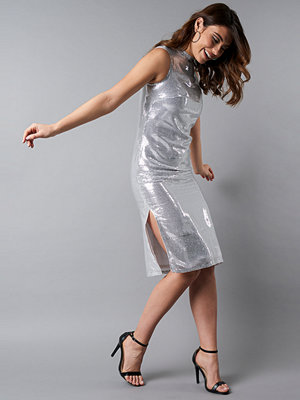 NA-KD Party High Neck Side Slit Sequins Dress silver