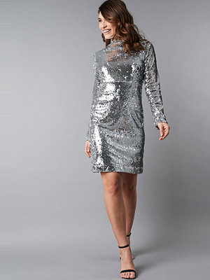 NA-KD Party High Neck LS Sequins Dress silver