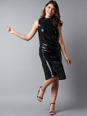 NA-KD Party High Neck Side Slit Sequins Dress svart