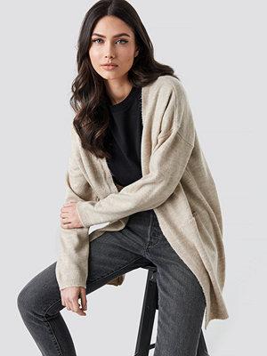 NA-KD Plain Knitted Midi Cardigan beige