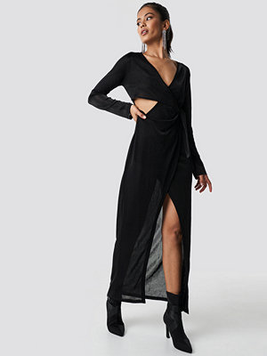 Hannalicious x NA-KD Glittery Long Sleeve Asymmetric Dress svart