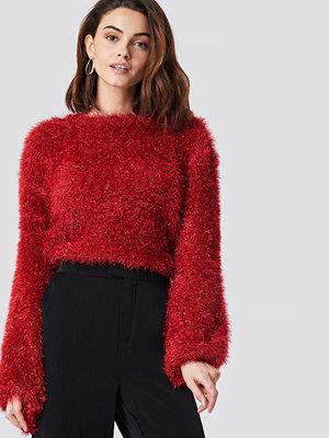 NA-KD Party Glittery Balloon Sleeve Sweater röd