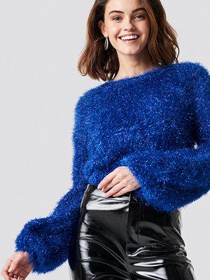 NA-KD Party Glittery Balloon Sleeve Sweater blå