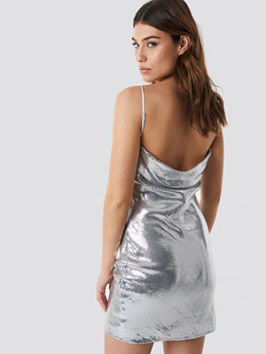 Linn Ahlborg x NA-KD Waterfall Back Dress silver