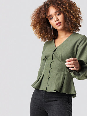 NA-KD Trend Button Up Balloon Sleeve Blouse - Blusar