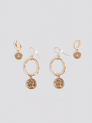 NA-KD Accessories smycke Mini Pendant Coin Earrings (2-pack) guld