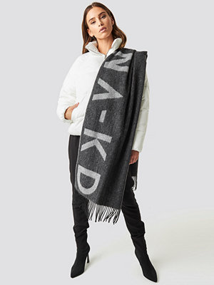 NA-KD Accessories Wool Logo Scarf grå