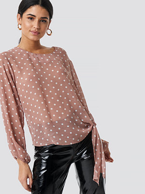 Rut & Circle Dot Sleeve Open Blouse rosa