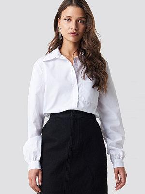 NA-KD Classic Pointy Collar LS Shirt vit