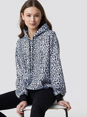 NA-KD Leopard Print Oversized Hoodie svart vit