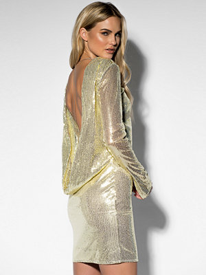Rebecca Stella Sequin Open Back L/S Dress guld