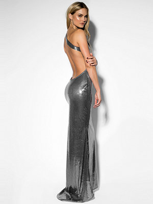 Rebecca Stella One Shoulder Sequin Dress grå silver
