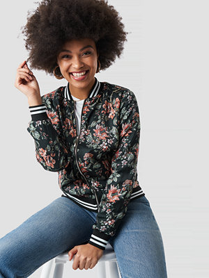 NA-KD Dark Floral Bomber Jacket multicolor