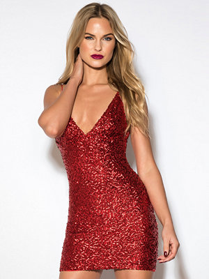 Rebecca Stella Sequin Short Dress röd