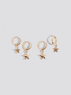 NA-KD Accessories smycke Mini Star Pendant Earrings (2-pack) guld