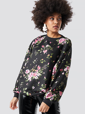 NA-KD Dark Floral Batwing Sweater multicolor