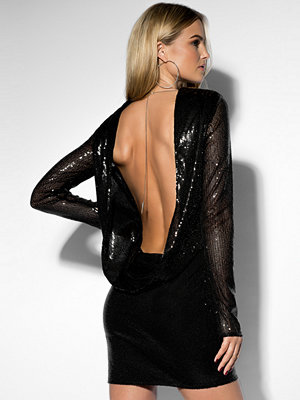 Rebecca Stella Sequin Open Back L/S Dress svart