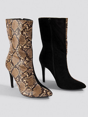 NA-KD Shoes Two Colour Stiletto Boot svart brun