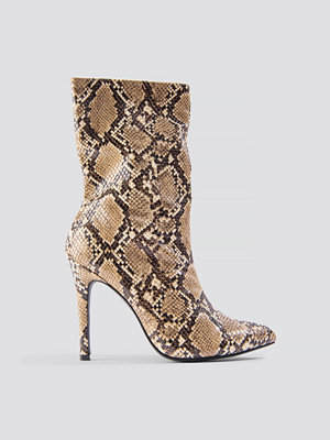 NA-KD Shoes High Heel Snake PU Stiletto Boot brun