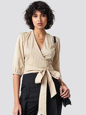 NA-KD Trend Puff Sleeve Wrap Crop Top beige