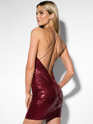 Rebecca Stella Sequin Halterneck Dress röd
