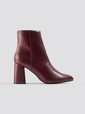 NA-KD Shoes Basic Block Heel Booties röd