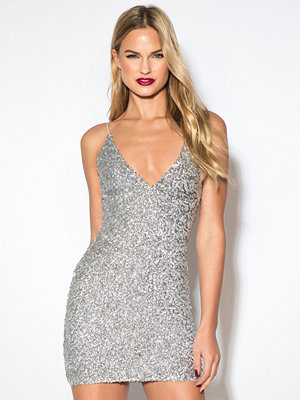Rebecca Stella Sequin Short Dress silver