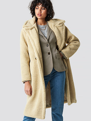 Colourful Rebel Nora Long Teddy Coat beige