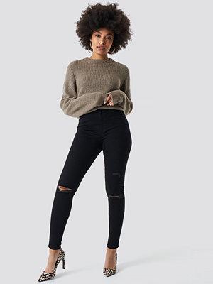 NA-KD High Waist Knee Rip Super Skinny Jeans svart