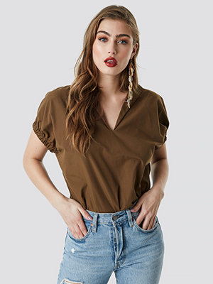 NA-KD Trend Oversized Puff Short Sleeve Shirt brun