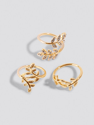 NA-KD Accessories Leaf Rings (3-pack) - Smycken